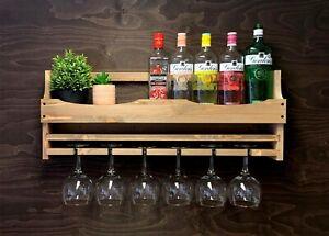 Wine Rack Gin Shelf Home Bar - Bottle & 6 Gin Glass Holder Garden Wood (6GWO)EM