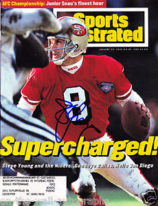 SF 49ERS STEVE YOUNG HAND SIGNED AUTOGRAPHED SPORTS ILLUSTRATED! EXACT PROOF+COA