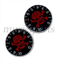 2 Pcs Electric Guitar Speed Black Knobs With Red Skull Crossbonesfor Guitar Part
