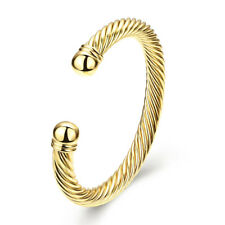 Gold Plated Bracelets Lady Opening Classic Twist Rope Bangle Cuff Bracelets DE