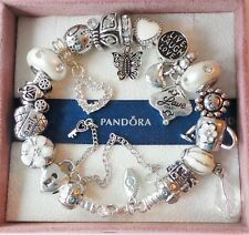 Authentic PANDORA Silver Bracelet with Charms Beads Love Heart Butterfly White