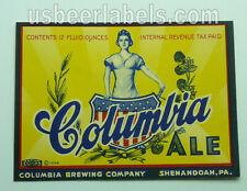 1940's Irtp beer label - Columbia Ale - Shenandoah, Pa