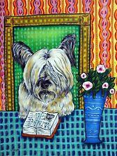 Library art skye terrier dog 13x19 Print poster gift modern folk Jschmetz