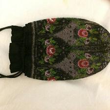 Antique Victorian Vintage Black Glass Micro Bead Drawstring Tassel Purse Bag  PL