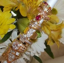NOS Seta Gold Plated Ring Lot B86 sz 8 - 8 3/4 Butterfly Grandma cz Solitaire