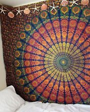 Blue Multi Peacock Mandala Wall Hanging Tapestry 100% Cotton Indian Tapestries