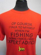 "Joe Bass ""Of Course I Talk To Myself When I'm Fishing..."" T-Shirt, Red, Medium"