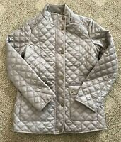 Womens  Medium M Lucky Brand Diamond Quilted Jacket Light Wt Coat Taupe Beige