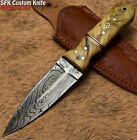 SFK Custom Handmade Damascus Steel Olive Wood Art Hunting Skinner Knife