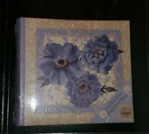 Photo Album 200 Pockets Hold 4x6 Photos, cream w Purple flowers NEW