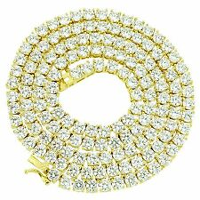 """14k Gold Finish Solitaire 1 Row Chain 18"""" Tennis Necklace Men Womens Lab Diamond"""