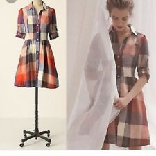 NEW Anthropologie moulinette soeurs reed shirtdress Red Plaid Dress Size 8