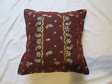 Indian Sari Patchwork Sequin Embroidered Cotton Cushion Cover Burgundy Gold Blue