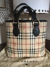 BURBERRY Haymarket Check Tote Black Granite Leather Canvas Made In Italy