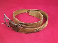 """Vintage 1960s Style Women's Brown Leather Belt With Braids 39"""" Long"""