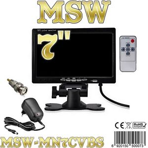 """MONITOR LCD TFT 7"""" Con 2 INGRESSI VIDEO AUTO CAMPER POGGIATESTA Video SECURITY"""
