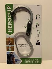 Heroclip Carabiner Clip and Hook For Camping Backpack and Garage Silver (Medium)