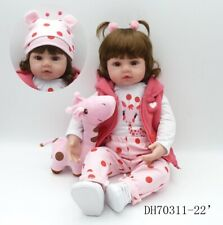 "19""Baby Handmade Lifelike Baby Girl Doll Silicone Vinyl Reborn Doll Newborn Gift"