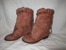Free People Wayland brown leather Ankle boots size 36 Made in Portugal Sold Out!