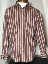 Faconnable Red Pink & Green Striped Long Sleeve Button Up Shirt Mens M