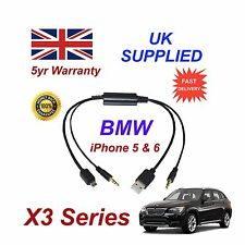 BMW X3 Serie per Apple iPhone 5 5C 5S 6 iPod USB & AUX Cavo Audio