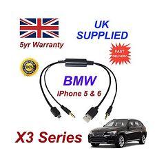 Bmw X3 Series Para Apple Iphone 5 5c 5s 6 Ipod Usb & Aux Cable De Audio