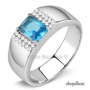 MEN'S EMERALD CUT BLUE TOPAZ & CLEAR CZ SILVER STAINLESS STEEL RING SIZE 8-13