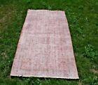 Anatolian Pink Overdyed Bohemian Area Rug Turkish Vintage Oushak Carpet 3x6 ft