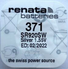 Renata 371 Watch Battery / Cell - Top Quality + UK FREEPOST - SR920SW 1.55V