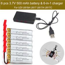6x 3.7V 500mAh Battery+6in1 Port Charger For UDI U818A U817A U817C RC Quadcopter