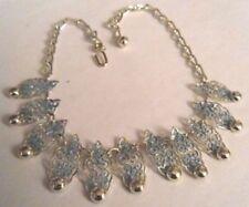 collier bijou style vintage maillon filigranne couleur argent brillant * 3872