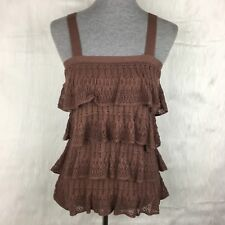 Moth XS Tank Top Anthropologie Brown Tiered Ruffle Lace Square Neckline Knit