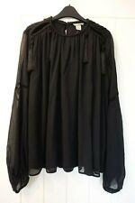 H&M BLACK SHEER LONG SLEEVE BOHO GYPSY TOP SIZE 8 BNWT WORK CASUAL SMART FLOATY