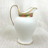 Antik Porzellan Sahnekännchen Krug Handbemalt 19th Century Gold Rand Rosa Blumen