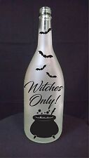 Witches Only warning welcome Halloween spider light recycled wine bottle lamp