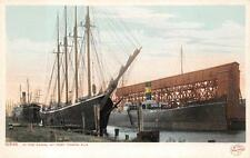 IN THE CANAL AT PORT TAMPA FLORIDA SHIPS POSTCARD (c. 1905)