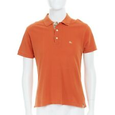 BURBERRY LONDON 100% cotton orange embroidered logo check collar polo shirt M