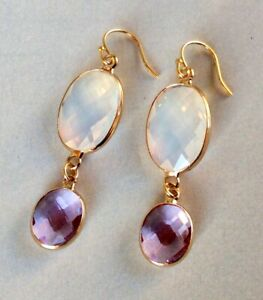 NEW GOLD PLATED OPAL AMETHYST SUNDANCE CHARM COLLECTION EARRINGS W/JEWELRY BAG