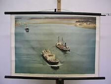 Vecchio muro immagine St. Lorenz via mare presso Massena N.Y. navi 75x51 VINTAGE MAP ~ 1960
