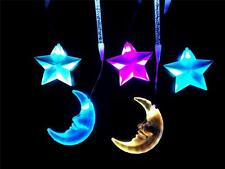 5 Drop Star and Moon LED Hanging Mobile Night Light 240v or Battery