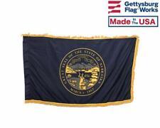 3x5' Nebraska Indoor Flag with Pole Hem & Gold Ornamental Fringe
