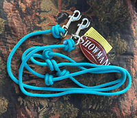 Teal Aqua Round Knotted Roping Barrel Contest Reins w/ Clips