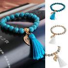 Charm Turquoise Stone Beaded Bracelets Rope Tassel Gold Plated Leaf Bracelet FT