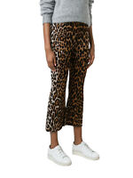 Stella McCartney Women's Flared Brown Silk Wool Knit Leopard Crop Pants
