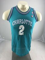 Vintage Champion #2 Larry Johnson Charlotte Hornets Jersey Sz Youth Large TEAL