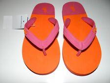 Polo Ralph Lauren Girl's Pink Orange Rubber  Flip Flops Size 5 New