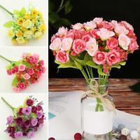 1 Bouquet 21 Head Artifical Plastic Rose Wedding Party Home Decor Silk Flower so