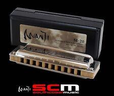 Suzuki Harmonica Manji M-20 Professional 10 Hole 20 Reed Diatonic Key G P H