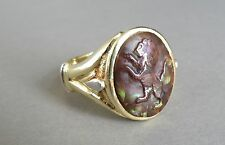 Royal King powerful 19.7 Gram 18k Gold carved Lion fire agate men's ring size 11