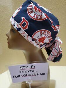 Boston Red Sox #2 MLB Women's Ponytail Surgical Scrub Hat/Cap Handmade